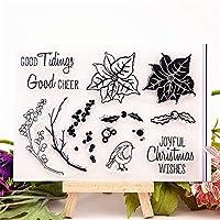 卸売透明クリアスタンプカエデの葉と鳥シリコーンシールローラースタンプDIYスクラップブッキングフォトアルバム/カード作成