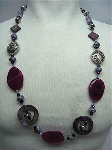 Natural mente – Agate, collier, env. 65 cm, pierre naturelle, collier, chaîne, agate Nacre, n ° 1042