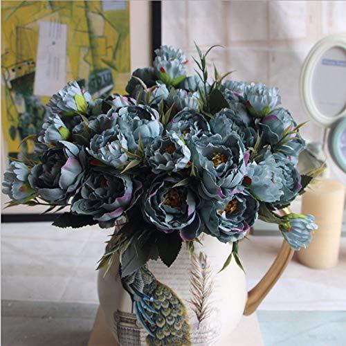 Lanyifang 2 Ramas Flores Artificial Europea de Mini Peonía Flor de Seda Marrón/Azul/ Rosa Flores Falsas para Boda, Fiesta, Ramo de Novia, Hogar, Decoración, Accesorios de Fotografía (Azul)
