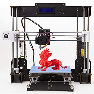 3D Printer, Trovole A8-W5 Pro DIY LCD Screen Desktop 3D Printer Kit with 1.75mm ABS/PLA Printer Filament(Build Size 220×220×240mm) (Wood 3D Printer)