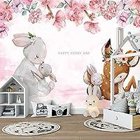 3Dリビングルーム子供部屋動物の写真壁の装飾絵画漫画花エルクウサギ壁画壁紙子供部屋-250x175cm