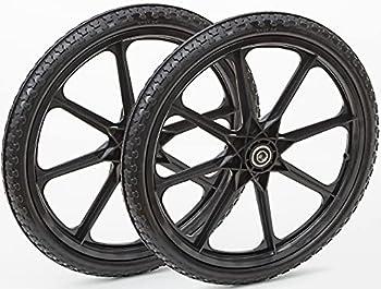 Lapp Wheels Set of Two 20x1.95 with 5/8 Bearing Flat Free Plastic Spoke Wheel Utility Cart Garden carts Replacement Wheels,