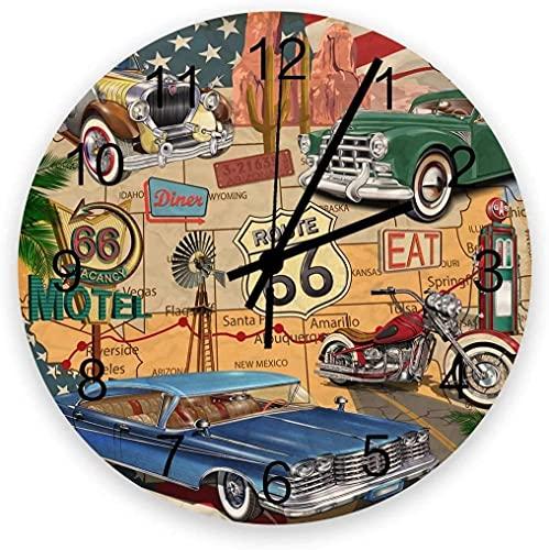 Decoración Reloj de pared Reloj de pared Reloj de pared Reloj de la batería Sin tictac de 12 'Relojes redondos de madera, Ruta 66 Coches antiguos Motocicleta en un mapa Viaje de viaje Viaje Americano