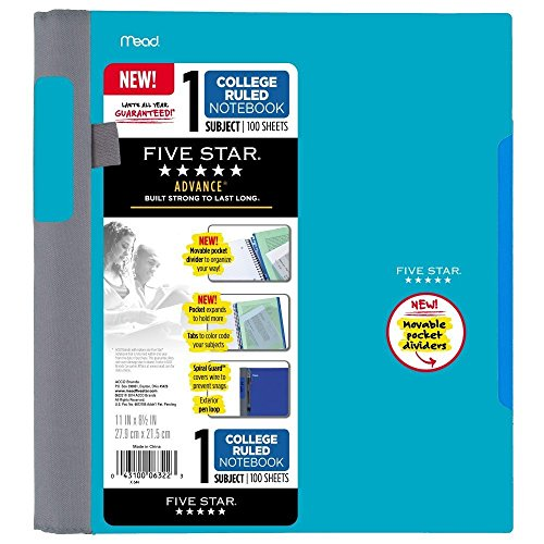 Five Star Advance Spiral Notebook-Standard Size, 1 Subject, 100 College-Ruled sheets, 11 x 8.5 Inch Sheet Size, Assorted Colors Photo #5