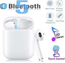 Bluetooth 5.0 Bluetooth Headset Wireless Headset Super Waterproof, Auto Pairing Fast Charge, HiFi Bass Stereo Sports Headphone with Microphone for Android and iPhone/Apple/Airpod/Airpods