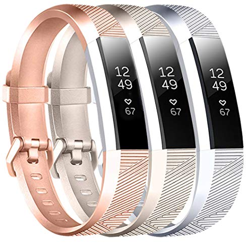 Baaletc Replacement Accessory Band/Wristband Bracelet Strap with Buckle for Fitbit Alta/Fitbit Alta HR/Fitness Tracker Rose Gold/Champagne Gold/Silver 3pcs