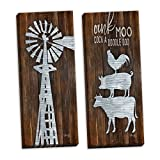 Gango Home Decor Country-Rustic Metal Windmill & Metal Farm Animal Stack by Marla Rae (Ready to Hang); Two 8x20in Hand-Stretched Canvases