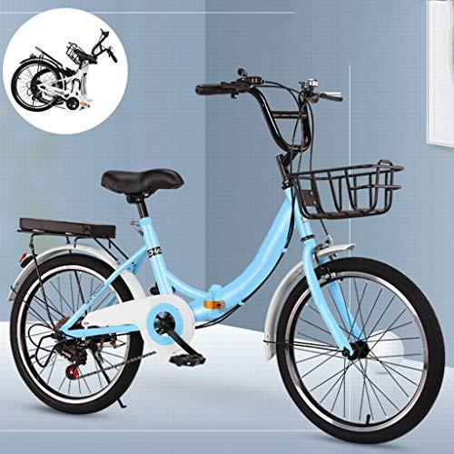 Bicicletta Pieghevole Adulto Leggera,Womens Biciclette con Comfort Sella della Bici, Piegatura 6 velocità Biciclette, Signore City Bike con Lega di Alluminio Regolabile Goose Head Stelo