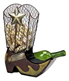 """Ebros Gift Western Rustic Cowboy Cowgirl Boot with Texas Star Decorative Cork and Wine Bottle Holder Sculpture 14"""" Tall Hand Made Steel Metal Animated Decor Figurine Kitchen Wine Cellar Organizer"""