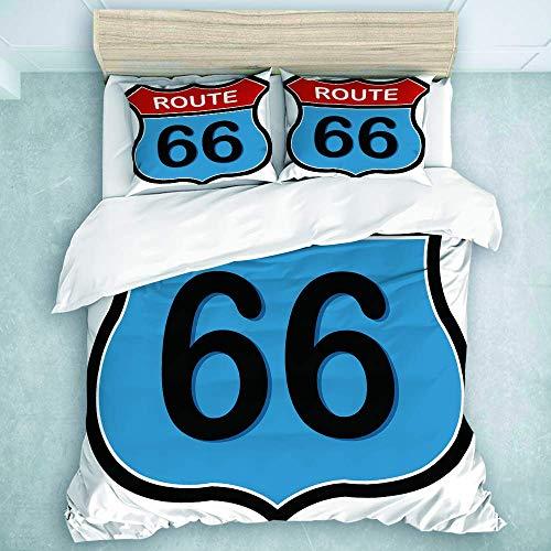 Juego de Funda nórdica, Letrero de la Ruta 66, Juegos de Cama duraderos de Viaje, 3 Piezas