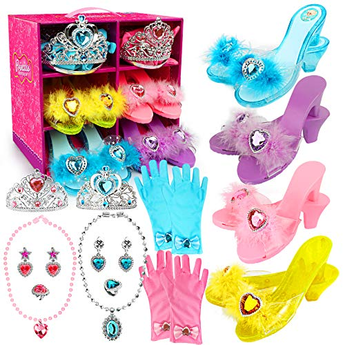 Princess Dress Up Shoes and Jewelry Boutique Little Girl Princess Play 4 Pairs of Play Shoes and Pretend Jewelry Toys Accessories Play Role-Play Gift Set for Toddlers Aged 3,4,5,6 Years Old