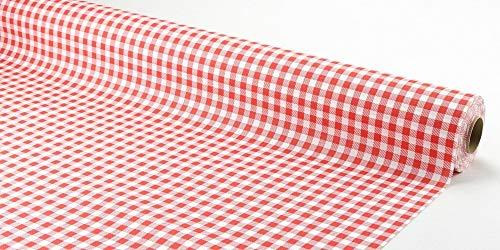 APARTina Papiertischdecke Rolle stoffähnlich rot weiß kariert 1 m x 20 m - Landhaus rot
