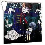 Black Butler Anime Decor Duschvorhang 72x72 in mit 12er Pack Eisenhaken für Badezimmer