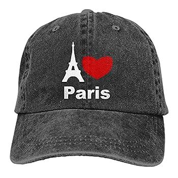 I Love Paris Unisex Cowboy Hats Sport Trucker Caps Baseball Cap Black