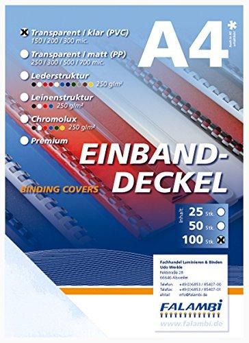 100 Einbanddeckel-Klarsichtfolie, DIN A4, transparent-klar, 0.2 mm
