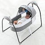 YOLEO Balancelle Bébé Electrique Lit de Voyage 5 Vitesses de Balancement Convient aux Bébés de 0 à 12 mois GRIS