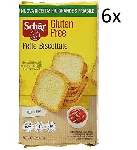6x Schar Fette Biscottate Senza Glutine Zwieback gebackenem Brot 260g Glutenfrei