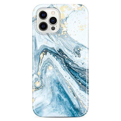 JIAXIUFEN - Custodia in silicone TPU per iPhone 12 Pro Max con motivo marmo, sottile, antiurto, in morbida gomma di silicone, colore: Blu