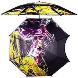 YUESFZ Sonnenschirme Pavillons Sonnenschirm Groß Windresistenter Regenschirm Aus Edelstahl, Doppelter Wasserdichter Feuerwerk-Sonnenschirm, Bedruckter Vinyl-Sonnenschirm Im Freien