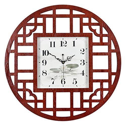 Nouveau Style Chinois Circulaire Ménage Horloge En Bois Cadre Mute Horloge Personnalité Creative Hollows Out Anneau Horloge À Quartz