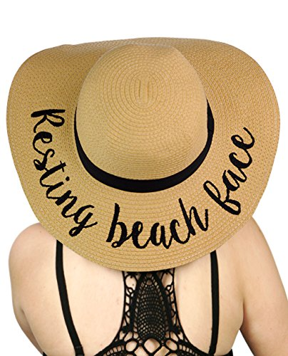 C.C Women's Paper Weaved Crushable Beach Embroidered Quote Floppy Brim Sun Hat, Resting Beach Face