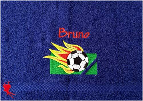 Fußball Handtuch bestickt mit Motiv und Name Fußballhandtuch