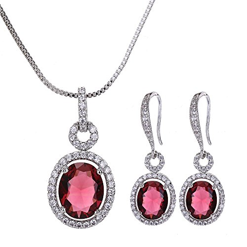AMYJANE Ruby Red Crystal Jewelry Set - Women's Sterling Silver Elegant Bridal Oval Red CZ Rhinestone Earrings and Necklace Set for Wedding Party Ruby July Birthstone Sets