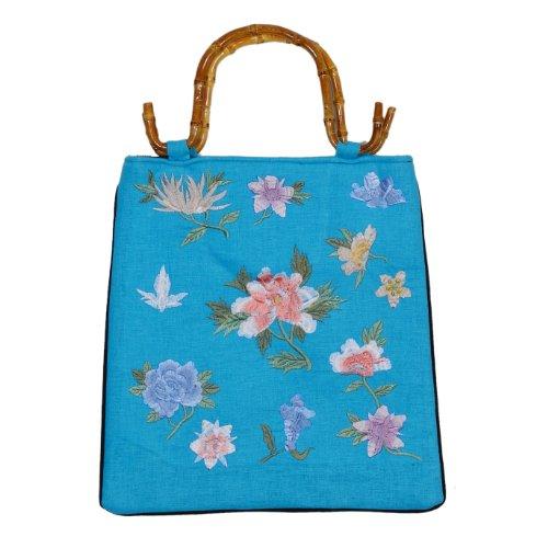 Tasche aus Leinen, mit Bambushenkel, bestickt, Handtaschen Bambus, Damentaschen, Asiatisch, 6600