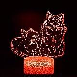 Lindo gato mascota base agrietada luz de visión 3D acrílico luz de noche multicolor luz LED multicolor decoración creativa lámpara de mesa pequeña