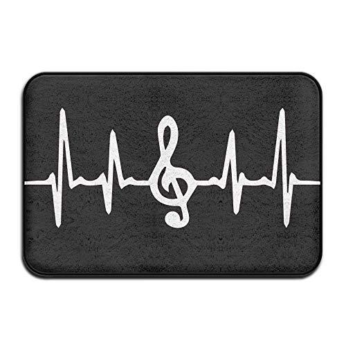 jonycm Floor Mat Nota Musical Heartbeat Office Felpudo Antideslizante Alfombra Moderna Bienvenida Personalizada Cocina Baño 40X60Cm Alfombrilla Vívida