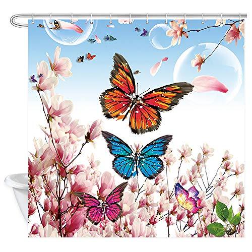 NYMB Blumen-Duschvorhang, rustikaler Garten, rosa Blumen, Pfirsichblüten mit Schmetterling, Badezimmer-Vorhang, Stoff für Dusche, Badezimmer, Accessoires, 12 Haken, 177,8 x 177,8 cm