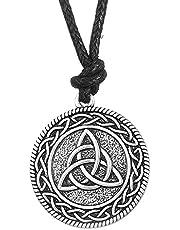 Dawapara Celtic Trinity Irish Knot Triquetra Solid Pendant Collana Regalo Gioielli per Uomo Donna