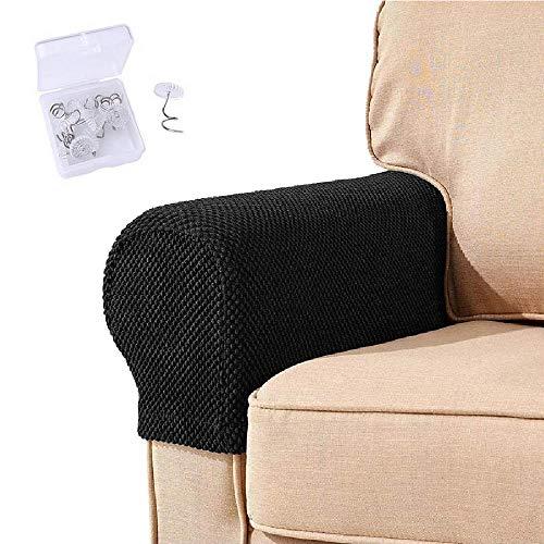 NEKOSUKI Armlehnen-Bezüge, 2 Stück, Stretch-Stoff, Sessel, Couch, Armlehne, rutschfest, Spandex-Polyester, Sofa-Stuhl-Armlehnen, Schonbezüge für Stühle, Möbelschutz (schwarz)