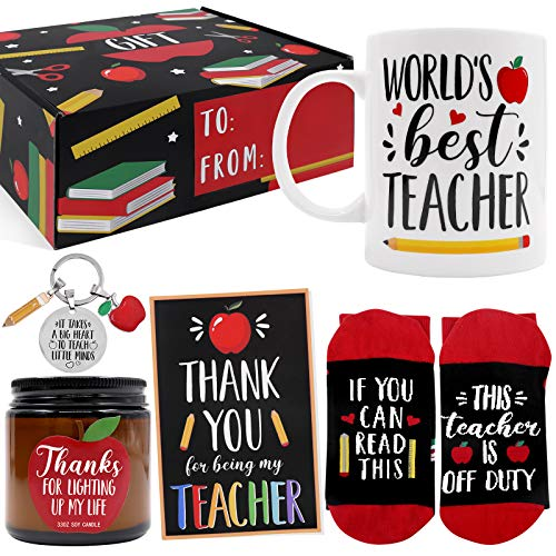 Teacher Appreciation Gift Box Back to School Gift Set for Women Master Tutor with Key Chain Mug Greeting Card Apple Candle Funny Socks Present Baskets Idea from Student to Teacher Set of 5