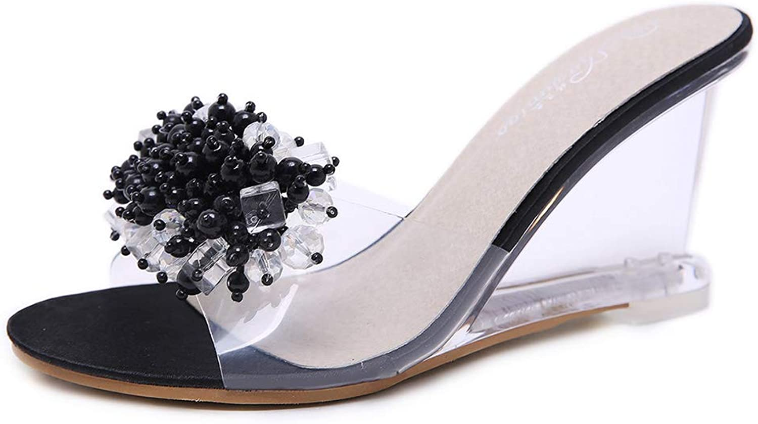 Women's Slippers,Sequins, Rivets, Flowers, Beaded Decorations,Transparent High Heels Wedge shoes,Comfortable