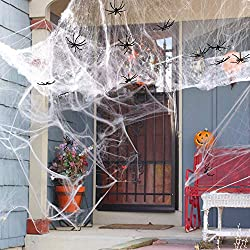 【Wonderful Halloween Decoration】Spider web is a must-have Halloween props for your house and decoration to create Halloween spookiness It also can be used for Bars and other Costume Parties. 【Easy Stretch 】Made of 300 grams artificial cotton, the sup...