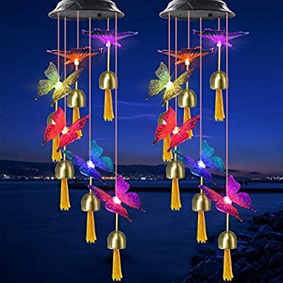 VGYVGYCC 2 Pack Butterfly Bell Solar Wind Chimes Color Changing Waterproof Hanging Mobile Solar Bell Butterfly Lights Garden Decor Yard Patio Porch Deck Decoration