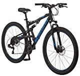 Schwinn S29 Mens Mountain Bike, 29-Inch Wheels, 18-Inch/Medium Aluminum Frame, Dual-Suspension, Mechanical Disc Brakes, Gloss Black/Red