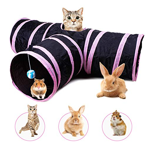 Banydoll Cat Tunnel Toy Rabbit Tunnel with Tube Fun Play Pet Toy Peep Hole Collapsible 3 Way Interactive Wand for Rabbits Cat Kitten Hamster Small Pets Toys