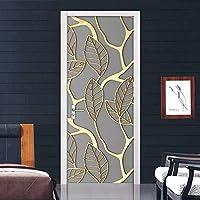 Azbza 子供のドアのステッカー 抽象的な黄金の葉 90 x 210cm 寝室や居間のドアの装飾に使用できます家の装飾のためのピールアンドスティック取り外し可能なビニールドアデカール2個セット