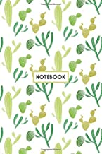 Notebook: Green Cactus Doodles, Wide Ruled 110 pages (6.14
