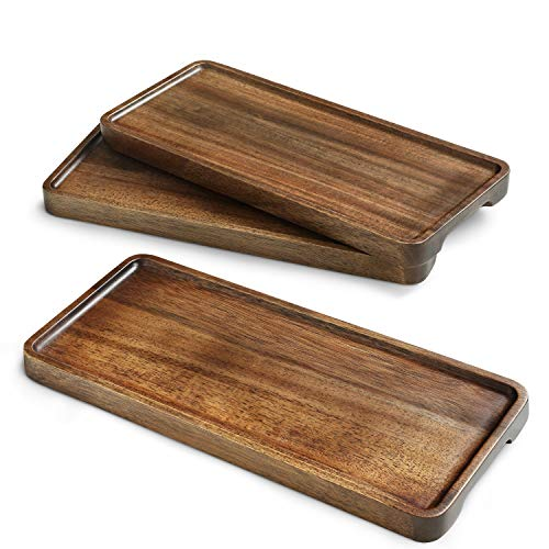Miusco Wooden Platters Set of 3, 11.8 Inch Natural Acacia Wood Tray, Wooden Cheese Plate, For Serving, Handcrafted Wooden Dish Set, Rectangle