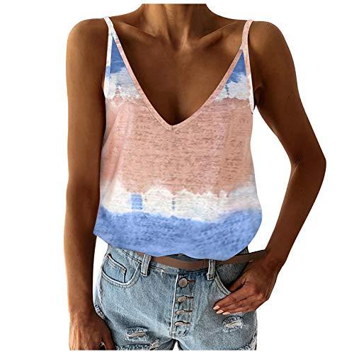 YANFANG Camiseta Moda para Mujer,Basica Suelto Verano T-Shirt,Color Block Tie-Dye Sin Mangas con Cuello En V Casual Tanques Tops (S-2Xl),Multicolor,S/M/L/XL/XXL