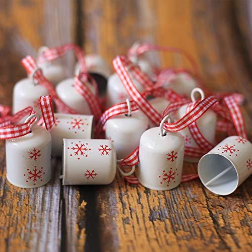 DAHI Glöckchen Weihnachtenbaum Anhänger Schneeflocken Schellen Glocke für Weihnachtsdekoration (weiß)