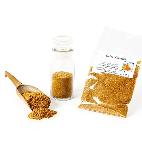 Gelbes Currysalz, Curry-Pulver, Curry Salz, Curry-Indisch, Meersalz Curry-Gewürzmischung, Currygewürz, Curry-Vegan, 30g
