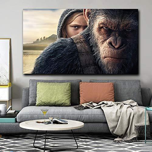 Monkey Planet Leinwand Krieg Wandkunst Poster drucken große Tiere für Wohnzimmer Dekoration,Rahmenlose Malerei,60x90cm