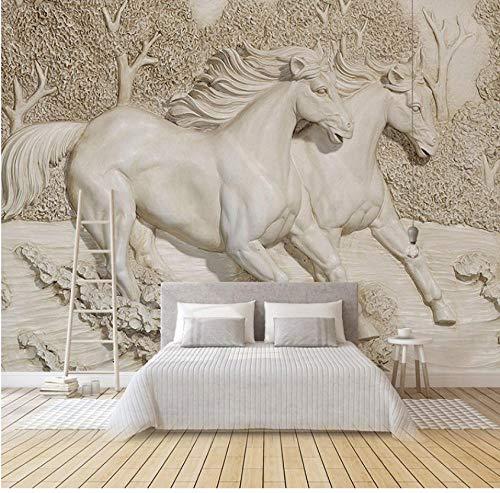 Muurschilderingen Aangepaste muurschildering Niet-geweven muurschildering Slaapkamer Behang 3D Woonkamer TV Muur 3D Relief Stereo Pleister Wit Paard Dierenbos 450(w)x300(H)cm