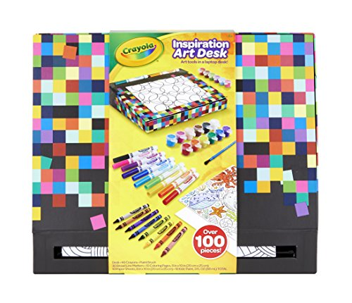 Crayola Inspiration Art Desk, Travel Art Set, Lap Desk for Kids, Ages 4, 5, 6, 7, 8