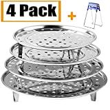 Round Stainless Steel Steamer Rack 7.6' 8.5' 9.33' 10.23' Inch Diameter Steaming Rack Stand Canner Canning Racks Stock Pot Steaming Tray Pressure Cooker Cooking Toast Bread Salad Baking (4 Pack)