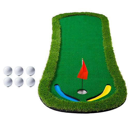 Jenify Golf Practice Training Mat Indoor Putting Green Golf Putting Mat Thicker and Wider Surface Best Gift,TrainingMat